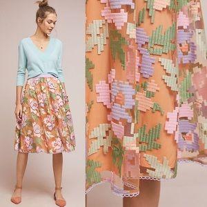 Anthropologie Pixelated Tulle Midi Skirt, sz M